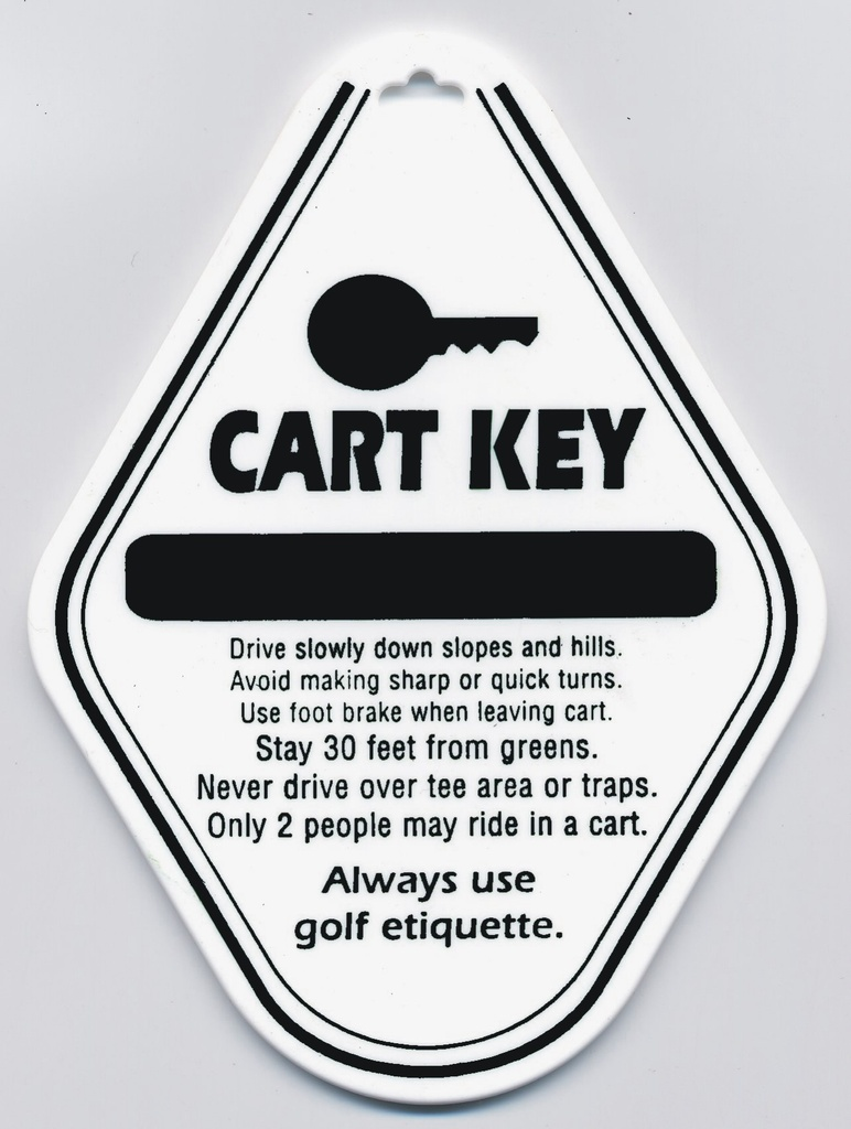 [12-BTCK] ​​Cart Key Tag W/Split Ring - White W/Black Imprint