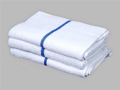 [14-1627CT-I05] ​​16X27 Cart Towel - Doz White W/ Blue Stripe