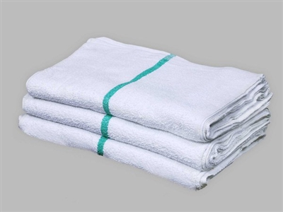 [14-1627CT-I06] ​​16X27 Cart Towel - Doz White W/ Green Stripe